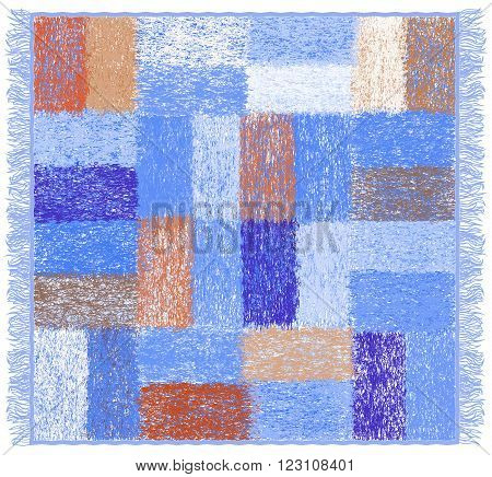 Weave grunge striped and checkered soft plaid with fringe in bluebrownwhite colors