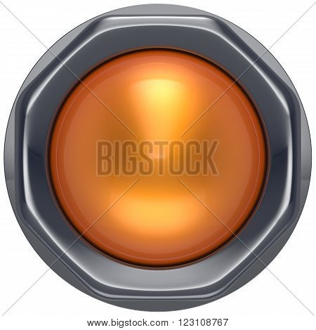 Button orange start turn off on action push down activate ignition power switch electric design element metallic shiny blank yellow. 3d render isolated