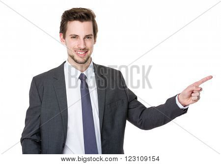 Caucasian businessman with finger point up