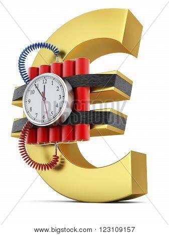 Time bomb on euro symbol ( concept of economic crisis) - 3D illustration