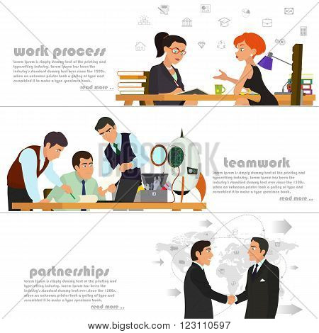 horizontal banners on the theme: business, partnerships, teamwork, work process, start-up, management, start-up projects, strategy and planning. vector illustration.