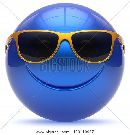Smile face cheerful sphere emoticon head ball cartoon smiley happy decoration cute blue golden sunglasses