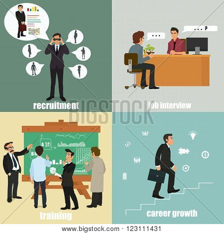 flat icons on the themes: recruitment, training, career and interview. vector illustration.