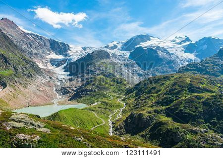 View to Steingletcher and Steinsee nearby Sustenpass in Swiss Alps