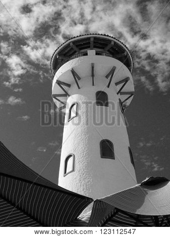Lighthouse in Cabo San Lucas Baja Mexico in black and white