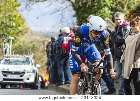 Conflans-Sainte-Honorine, France-March 62016: The Belgian cyclist Tom Boonen of Etixx-Quick Step Team riding during the prologue stage of Paris-Nice 2016.