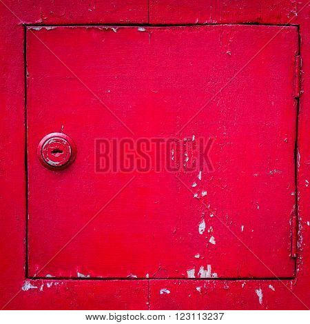 Vintage grunge red wooden locker for background