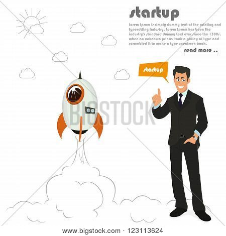 rocket launch. business concept to launch a new project. starting a new business. vector illustration.