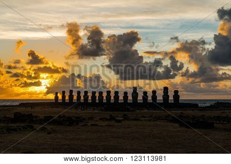 Moai at Ahu Tongariki on Easter Island at sunrise
