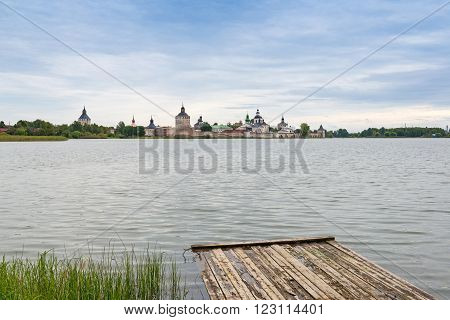 landscape of lake and old monastery in Vologda region, Russia