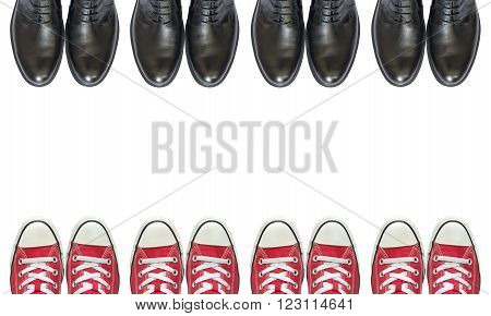 red sneakers and man business shoes isolated on white