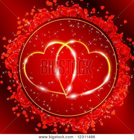 Red Valentine's Day Greeting Card With Two Golden Hearts