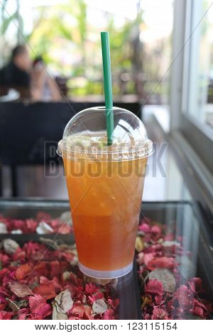 Cold lemon tea for reduces thirst water in the cafe.