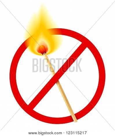 Vector stop sign with burn match .