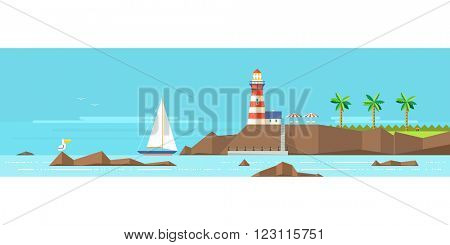 Lighthouse on a rocky shore. The boat near the shore. Reefs. Tropical Beach.