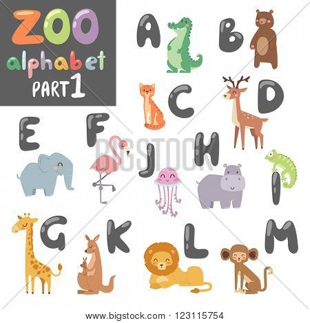 Animals alphabet symbols, wildlife animals font alphabet design vector. Cute vector zoo english alphabet with cartoon animals colorful vector illustration.