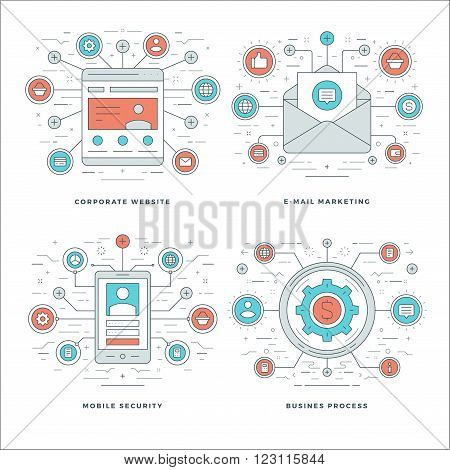 Flat line E-mail Marketing, Mobile Security, Business Process Concepts Set Vector illustrations. Modern thin linear stroke vector icons. Website Header Graphics, Banner, Infographics.