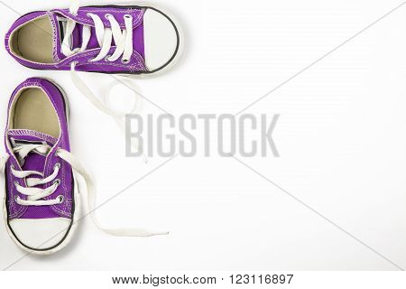 portrait of a little girl sneakers shoes