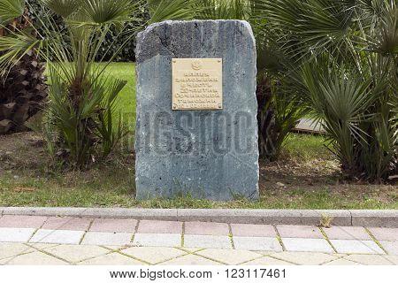 SOCHI RUSSIA - November 06 2015: Stone stele