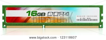 Generic RAM module isolated on white background