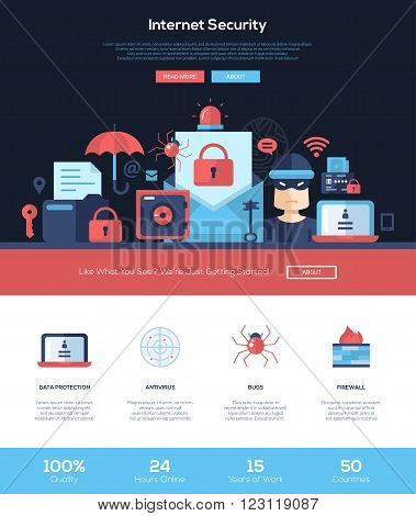 Internet security services web site one page website template layout with flat header, banner, icons and other flat design web elements