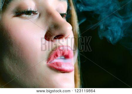 Girl Smokes A Hookah