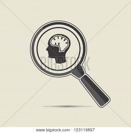 Head examination illustration. Medical testing concept. Flat vector icon.