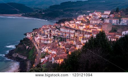 View of the city of Lastres at sunset Asturias.Spain.Photographs updated in March 2016