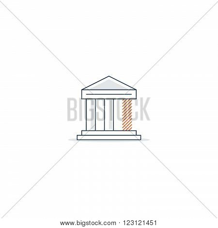 Finance difficulties, crisis concept, linear design illustration