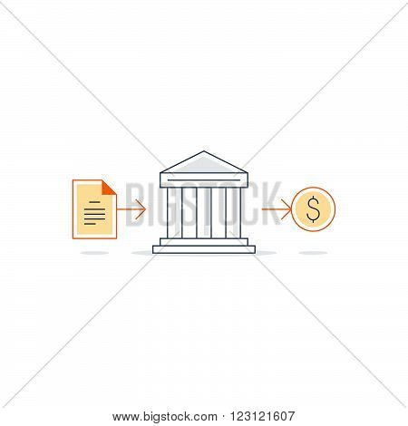 Bank building icon, finance services, linear design