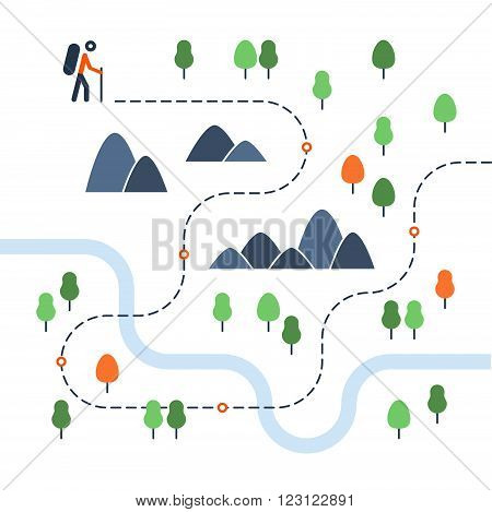 Hiking map, sport orienteering in cross country