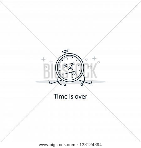 Time is over. Kill time, linear design illustration