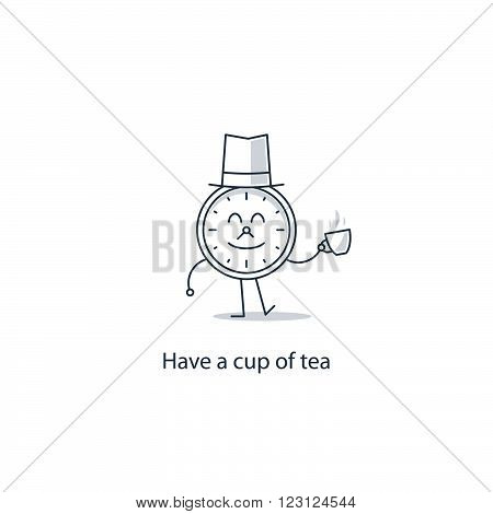 Have a cup of tea. Anti cafe, linear design illustration