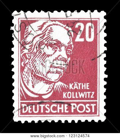 GERMANY - CIRCA 1948 : Cancelled postage stamp printed by Germany, that shows portrait of Käthe Kollwitz.