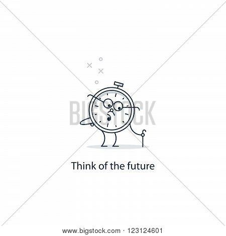 Future thinking, time to retire, flat design illustration
