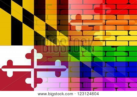 A well worn wall painted with a LGBT rainbow with the Maryland state flag