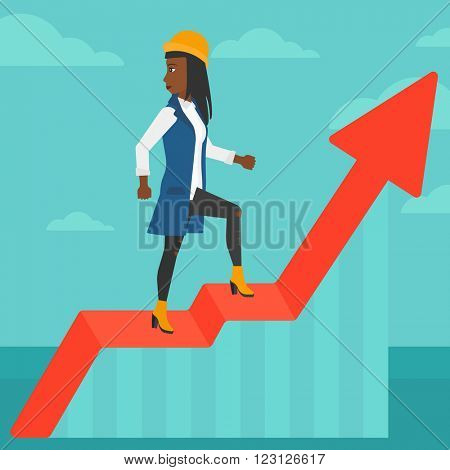 Woman standing on uprising chart.