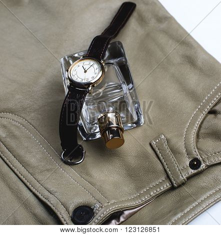 Women's clothes and accessories. perfume and watch