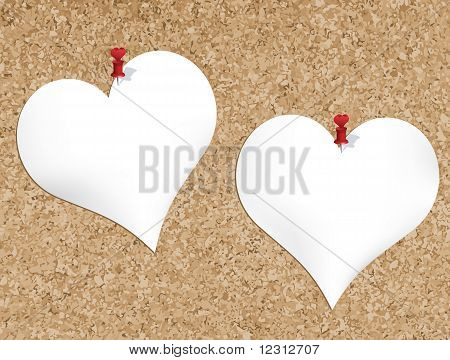 Cork Bulletin Board With Heart Shaped Notepads