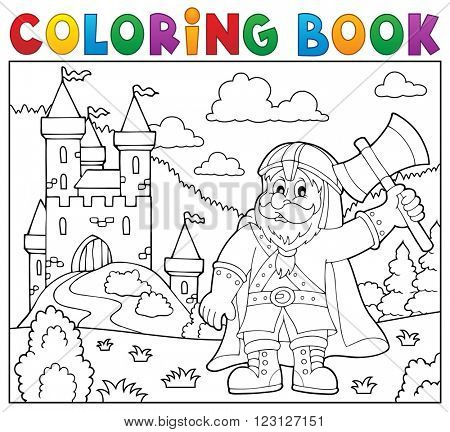 Coloring book dwarf warrior theme 2 - eps10 vector illustration.