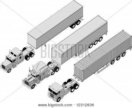 Vector semi-truck set