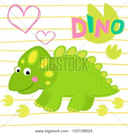 Green dinosaur on striped background vector illustration. Dinosaur