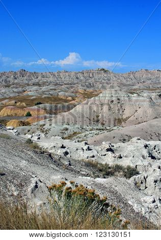 Badlands National Park on the edge of the Black Hills of South Dakota USA