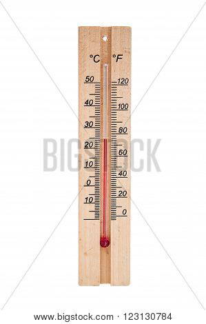 Thermometer room. Made on a wooden base. It shows the temperature in degrees Celsius and Fahrenheit