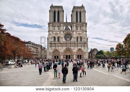 Paris France - October 4 2014: Notre-Dame a historic Catholic cathedral one of Paris's primary tourist destinations.
