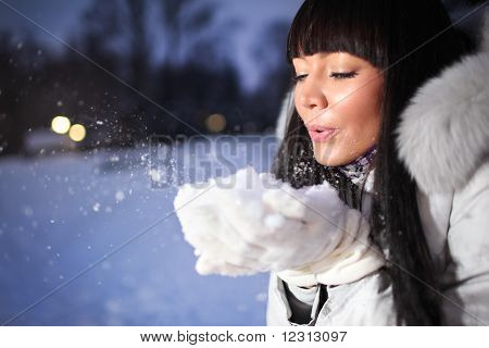 Beautiful Woman In Winter Park