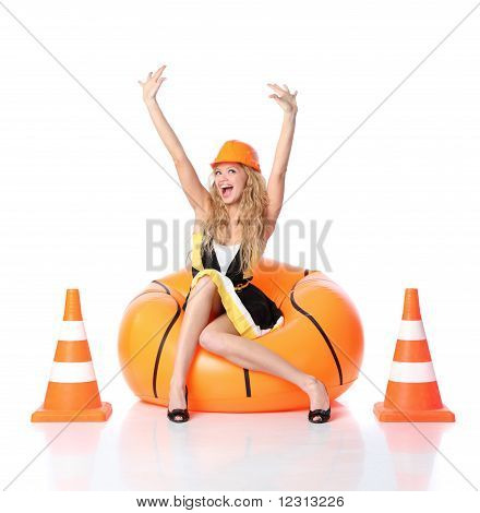 Happy Construction Girl
