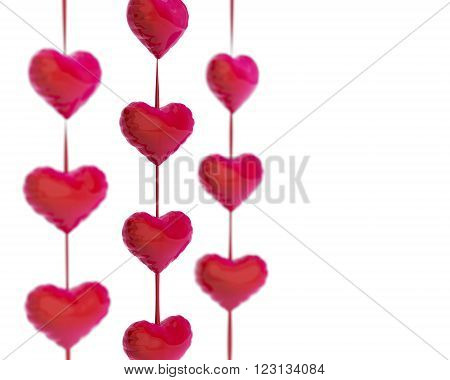 chain of red hearts on white background 3D rendering