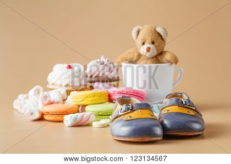 Macaroons, Marshmallows, Cakepops, Bear Toy And Other Sweets