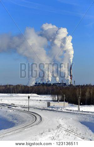 Freight Train Near A Chemical Plant